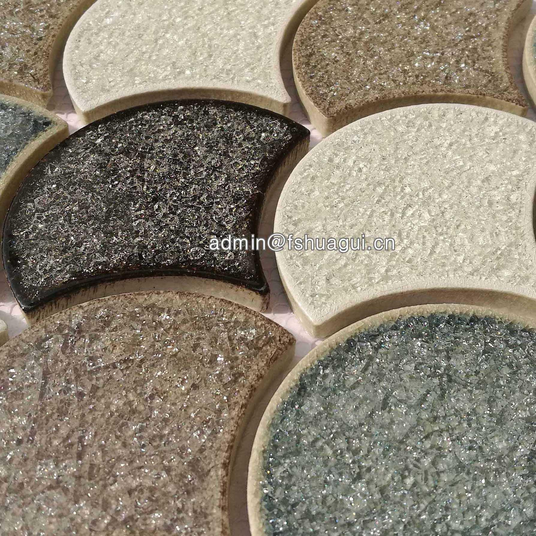 Scalloped ceramic mosaic tile backsplash