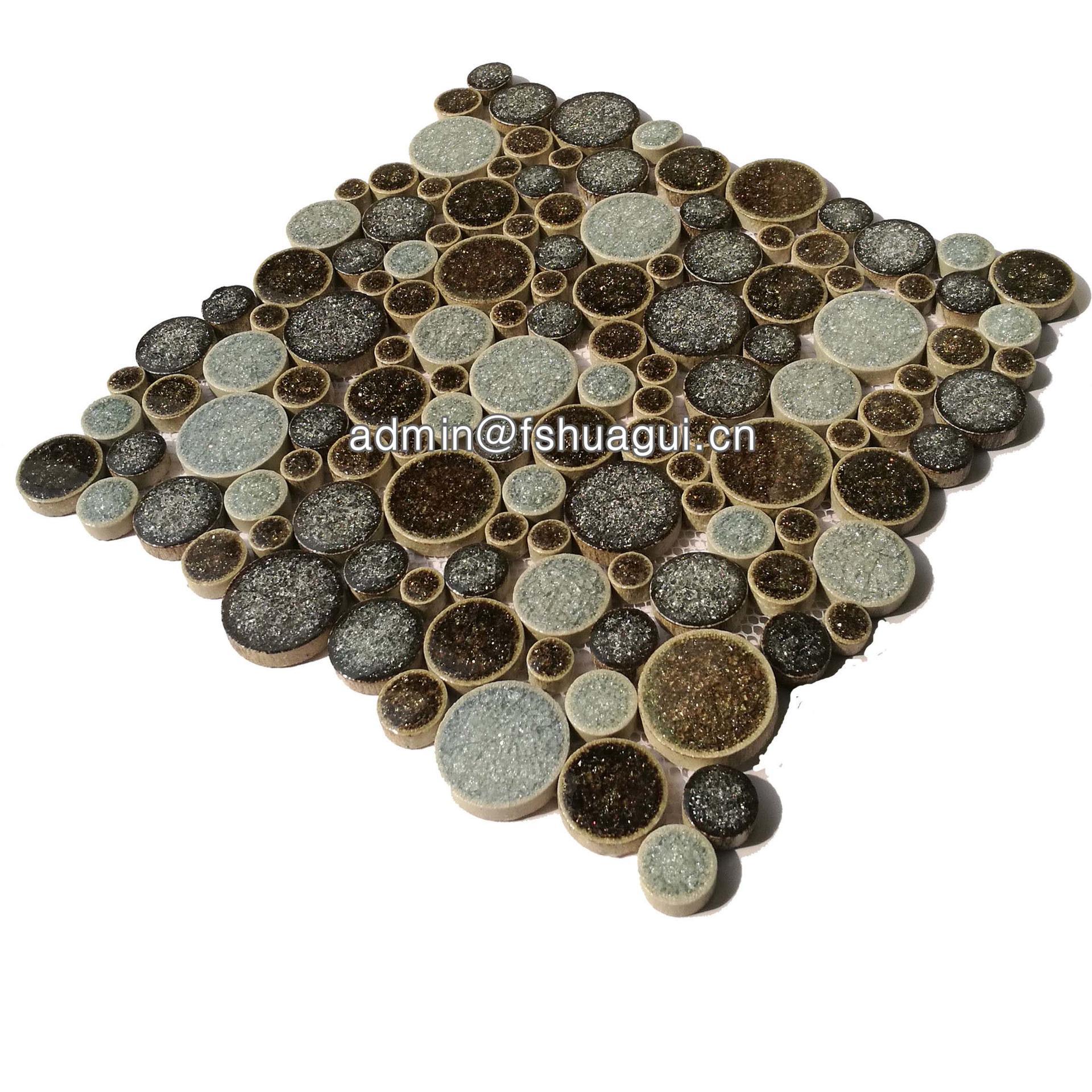 Foshan brown pebble ceramic mosaic bathroom floor tiles