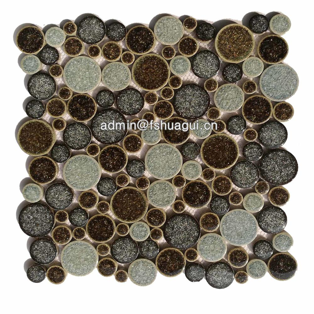 Foshan brown pebble ceramic mosaic bathroom floor tiles