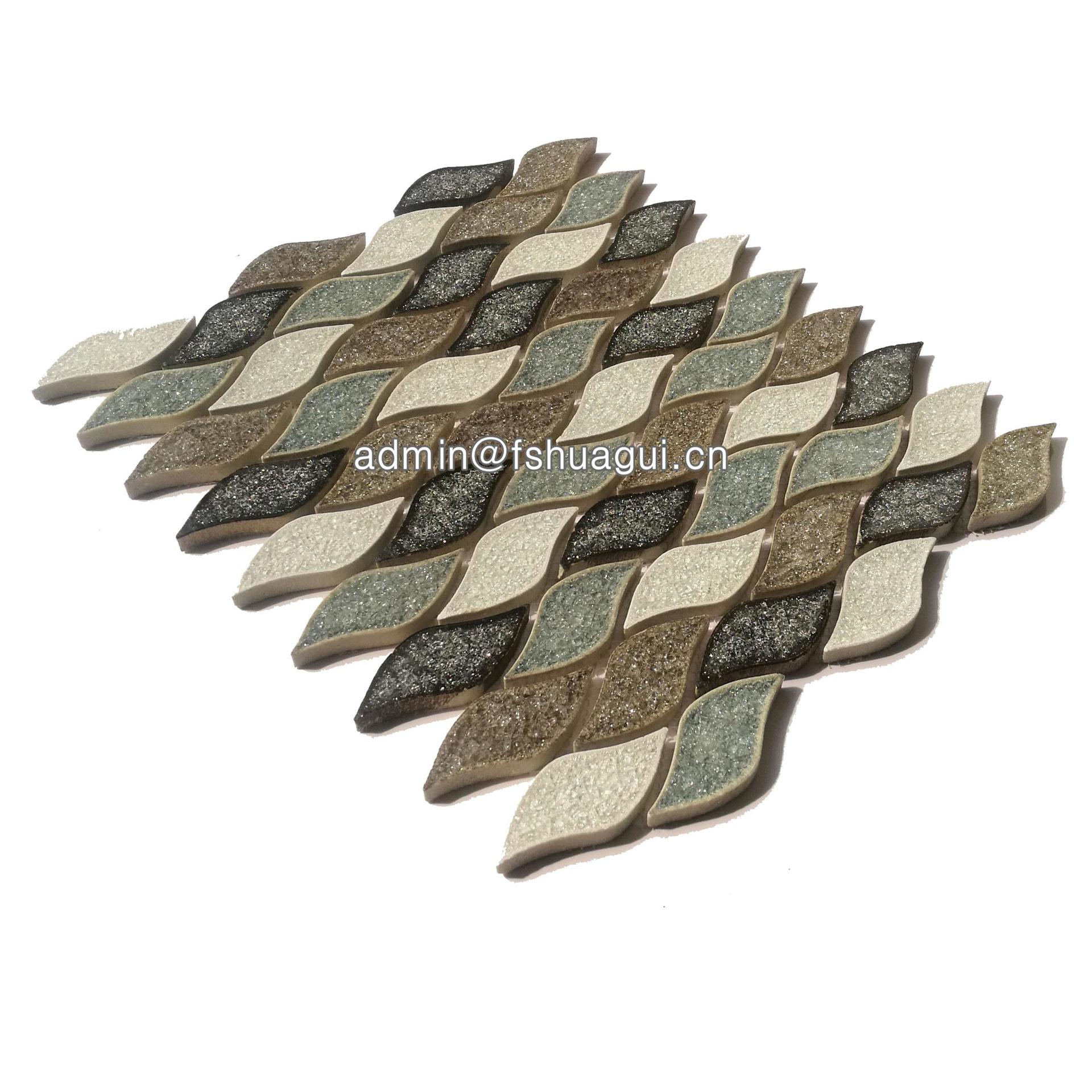 Unique leaf water jet ceramic mosaic wall tile in the UK