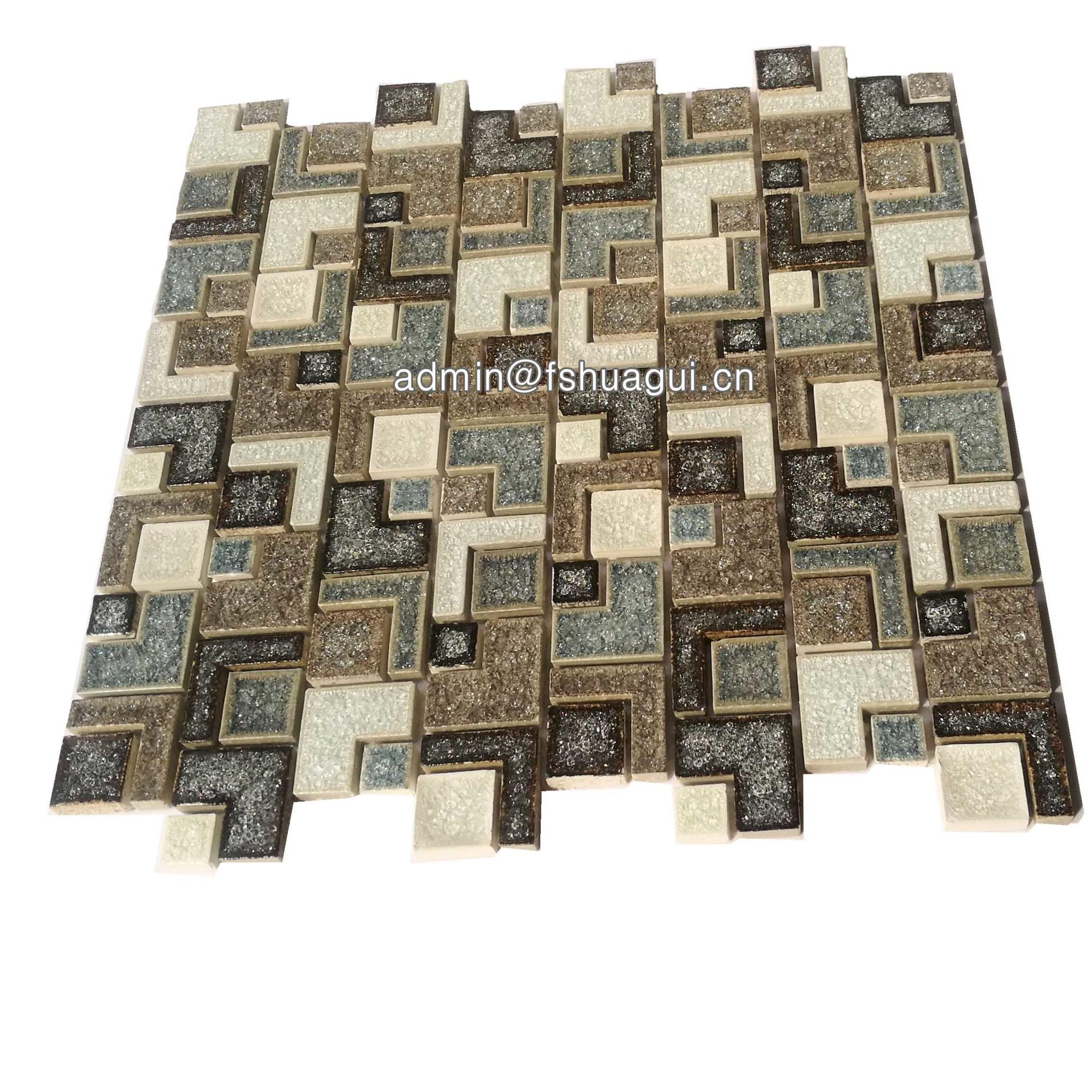 Shaped tan ceramic mosaic decoration for outside wall tile
