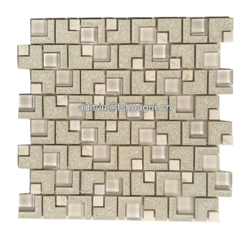 Cream color ceramic mixed clear crystal glass mosaic backsplash