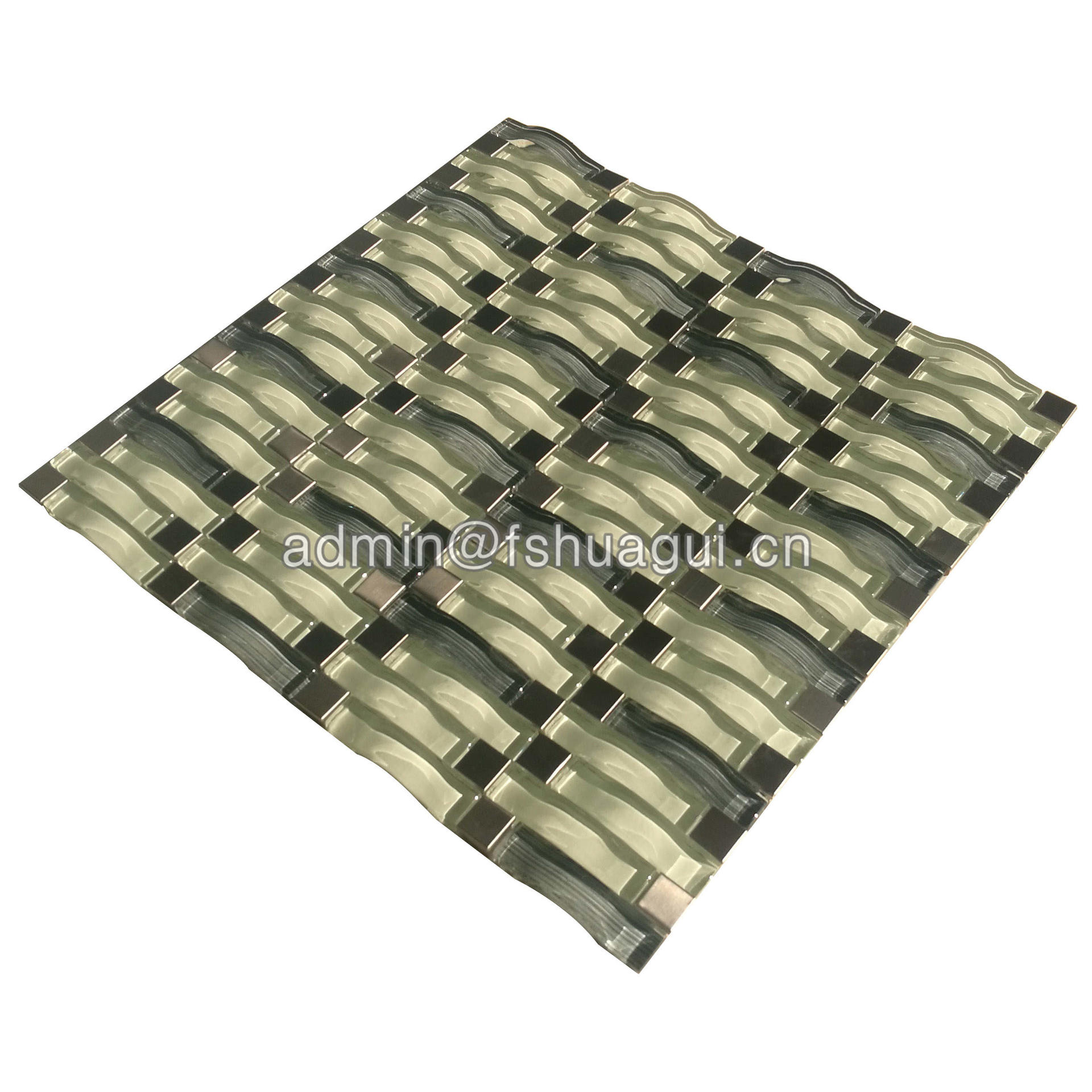 Silver stainless steel with cream mix green wave glass mosaic wall tile