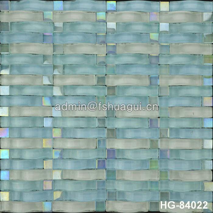 China manufacturer of 3D wave crystal glass mosaic tile for kitchen backsplash