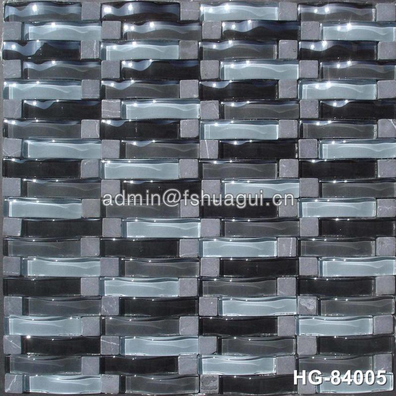 Black wave backsplash glossy glass stone mosaic tile for kitchen bathroom