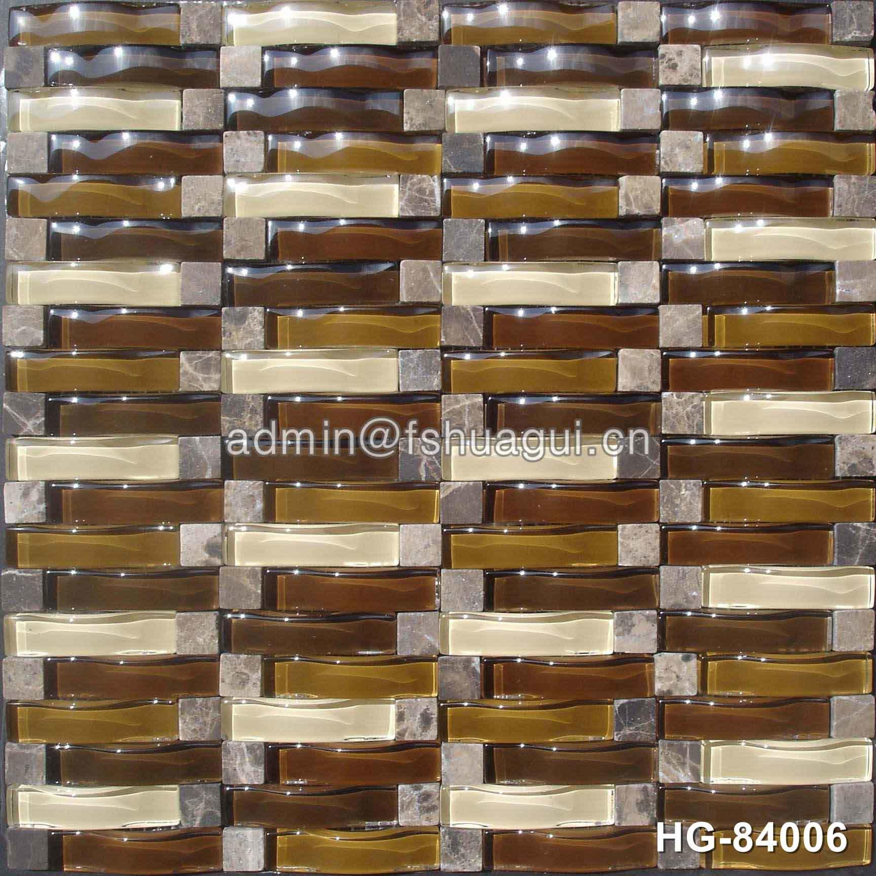 Iridescence 3D waves arch glass tile mix stone mosaic in Spain