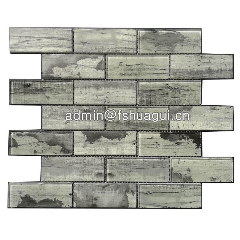 Grey inkjet brick glass subway tile around fireplace
