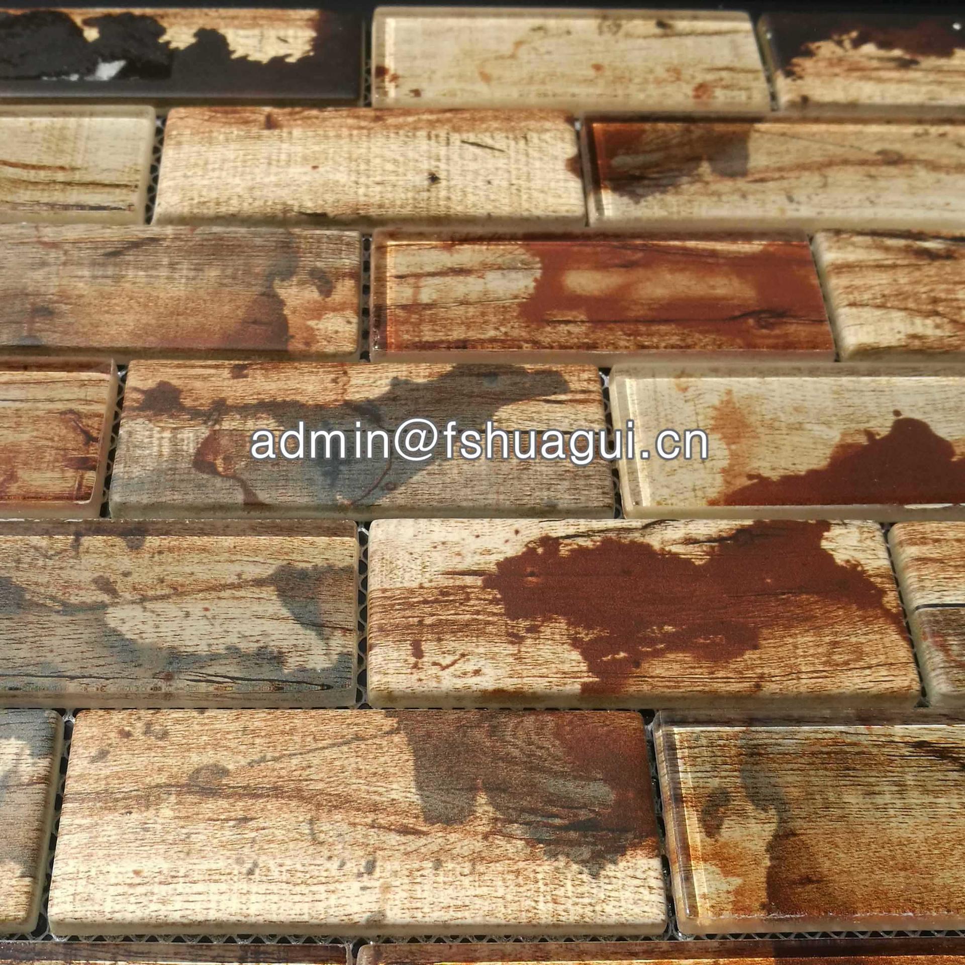 Recycled taupe inkjet glass mosaic kitchen backsplash tiles Canada