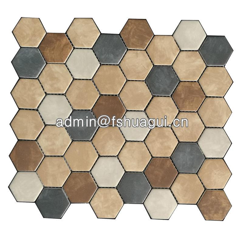 Brown mixed hexagon mosaic tiles vinyl flooring South Africa