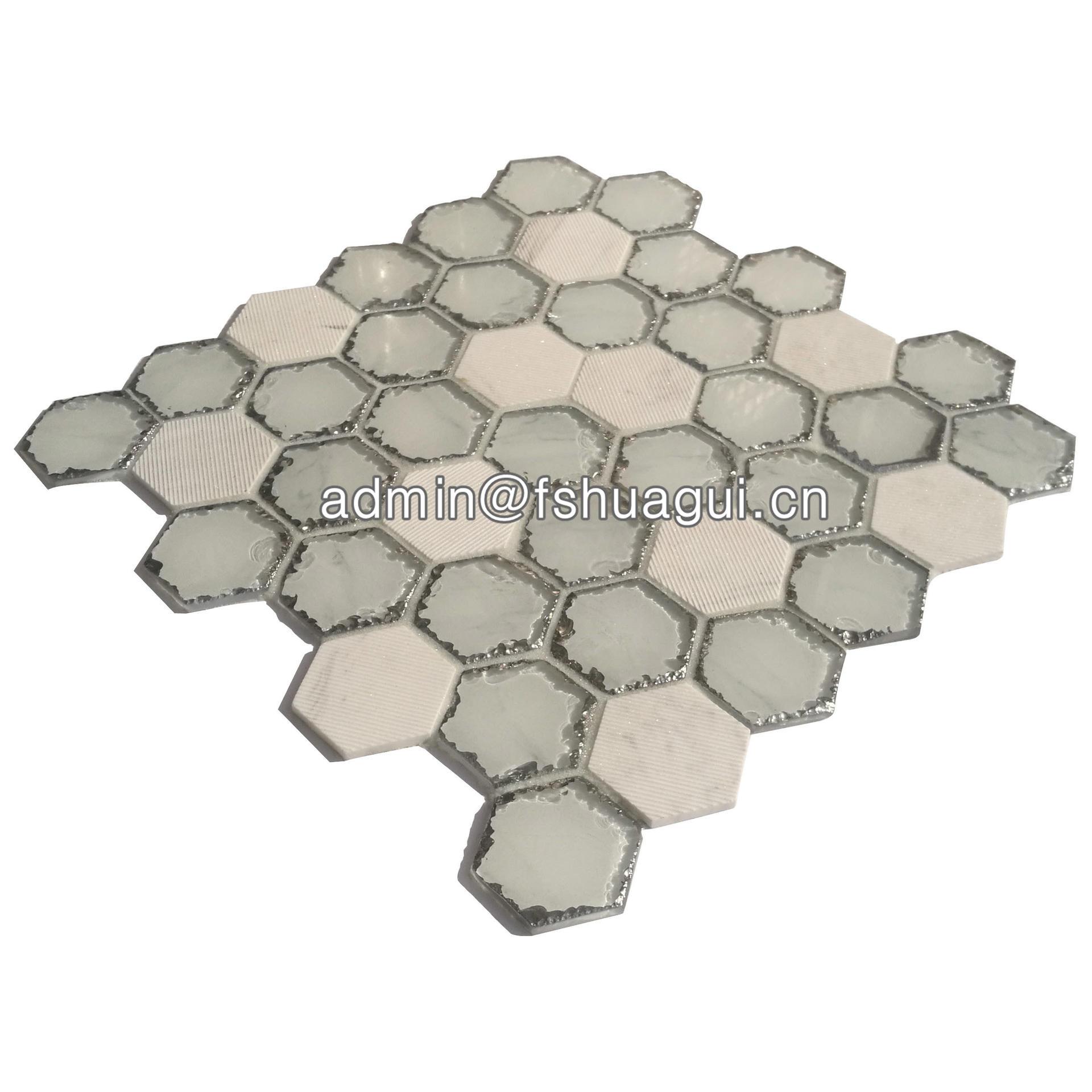 Carrara white stone blend glass hexagon mosaic tiles splashback