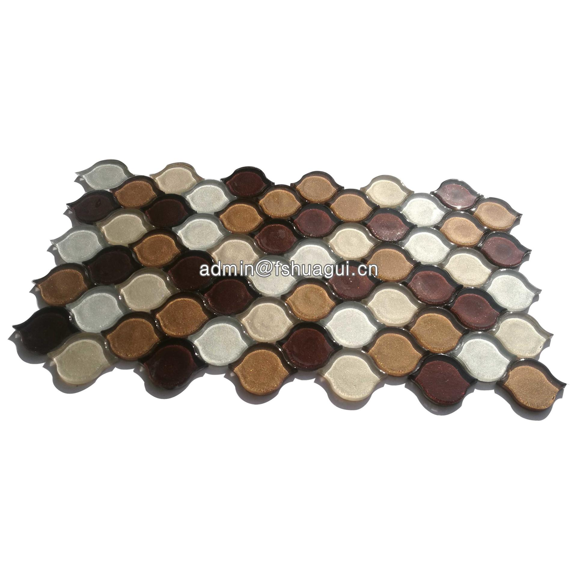 Reflective taupe arabesque glass mosaic glossy tiles for decoration