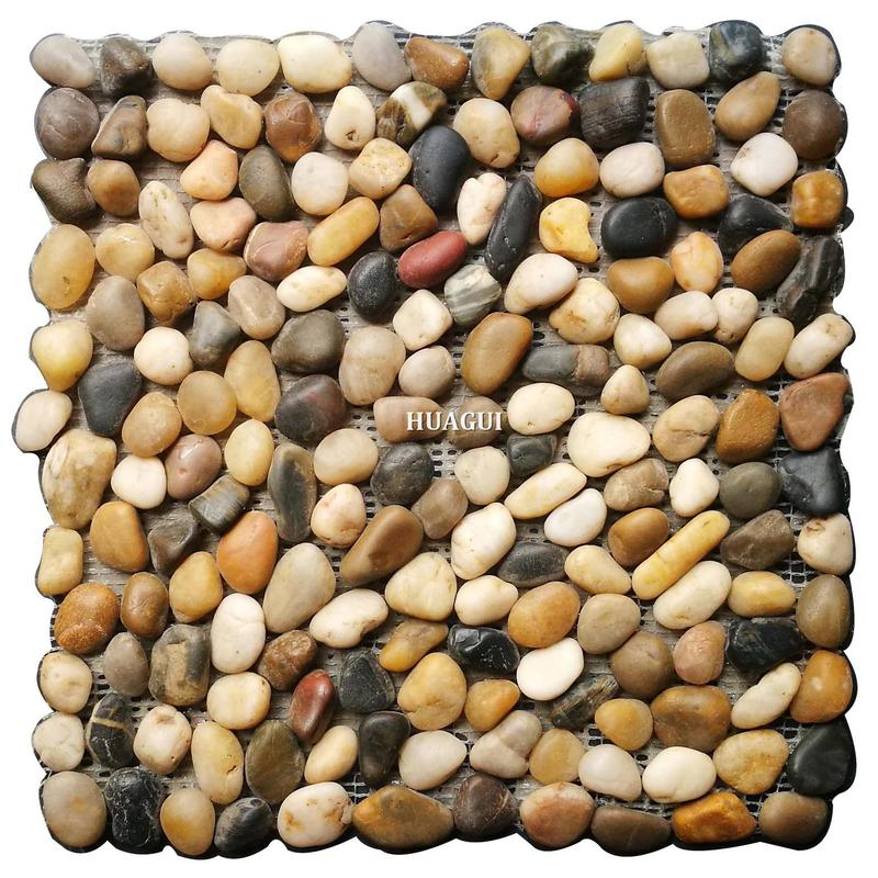 Factory price natural style river rock stone mosaic floor tile