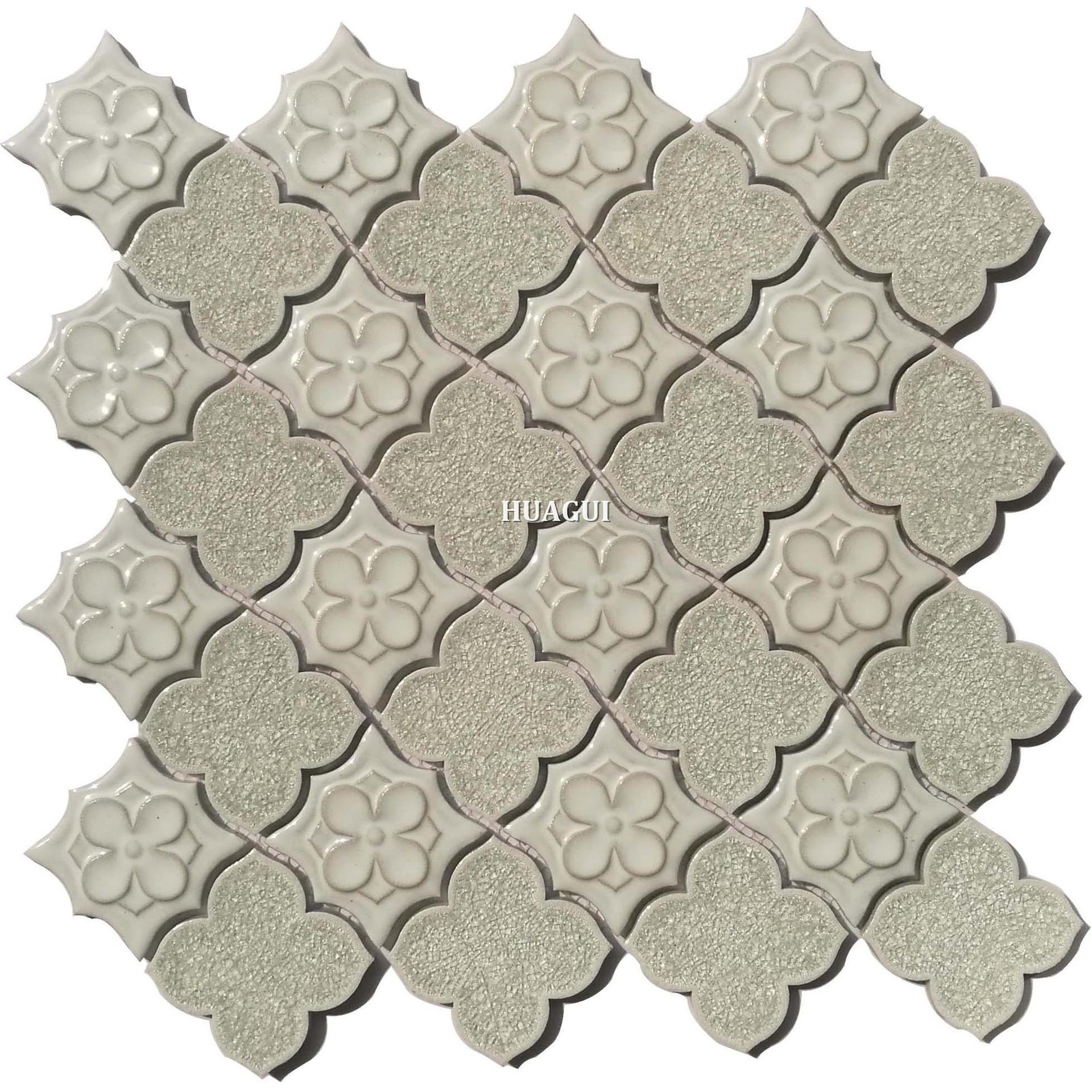 Elegant America style white flower ice cracked ceramic mosaic tile design idea