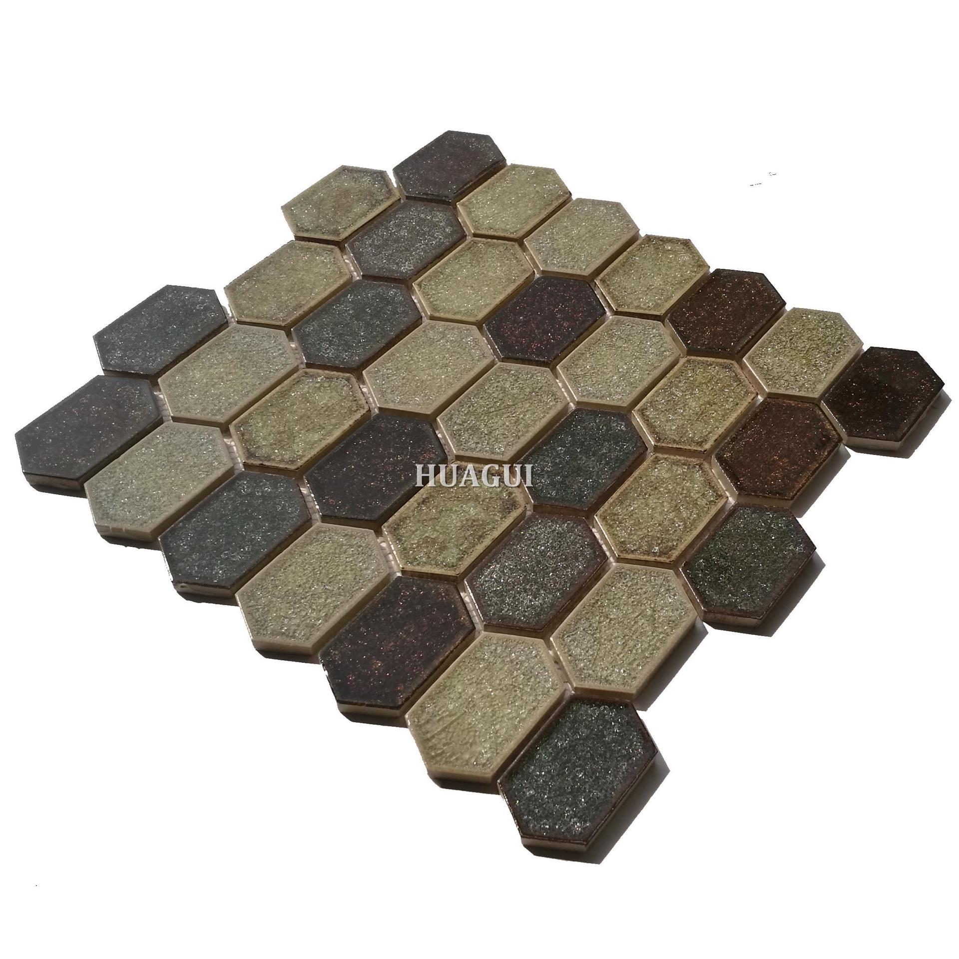 Classic style ice cracked ceramic hexagon mosaic kitchen backsplash tile