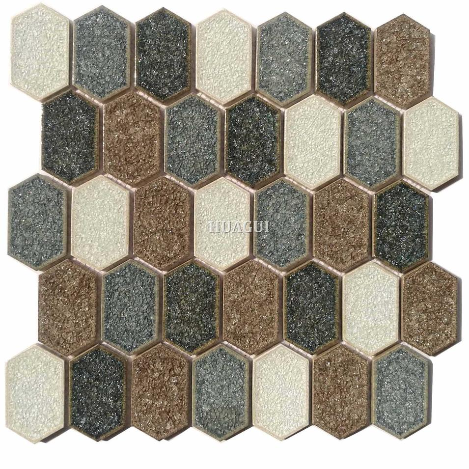 New design white mixed blue ceramic hexagon mosaic tile for decoration