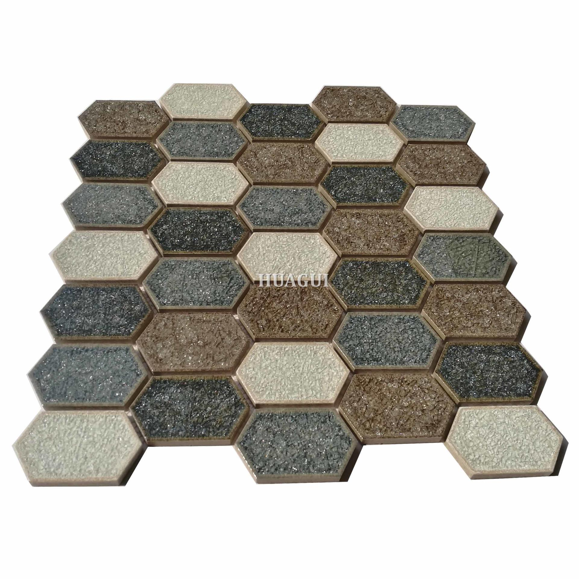 New design white mixed blue ceramic hexagon mosaic tile for decoration
