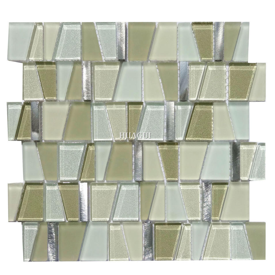 Multicolored matte tile beveled glass mosaic bathroom backsplash