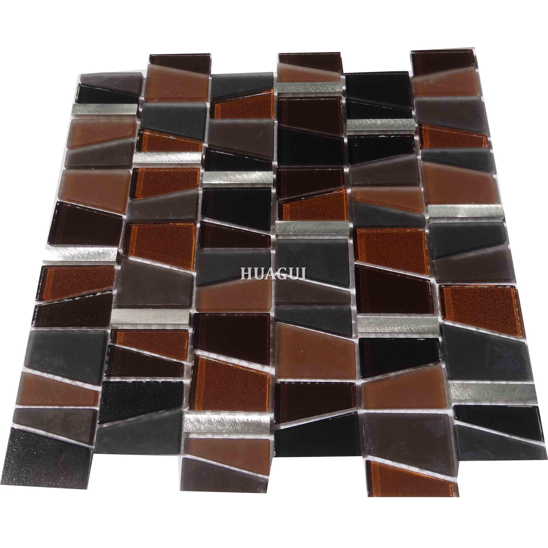 Brown color glass tile mixed with silver aluminum mosaic