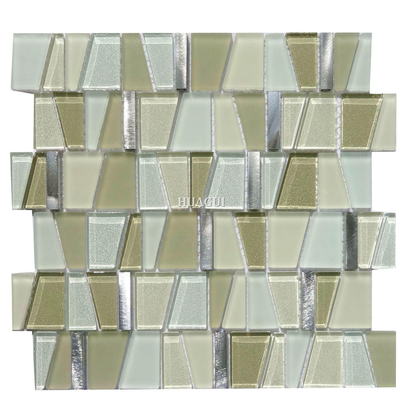 Shaped 3d smooth  glass mixed aluminum mosaic kitchen backsplash ideas