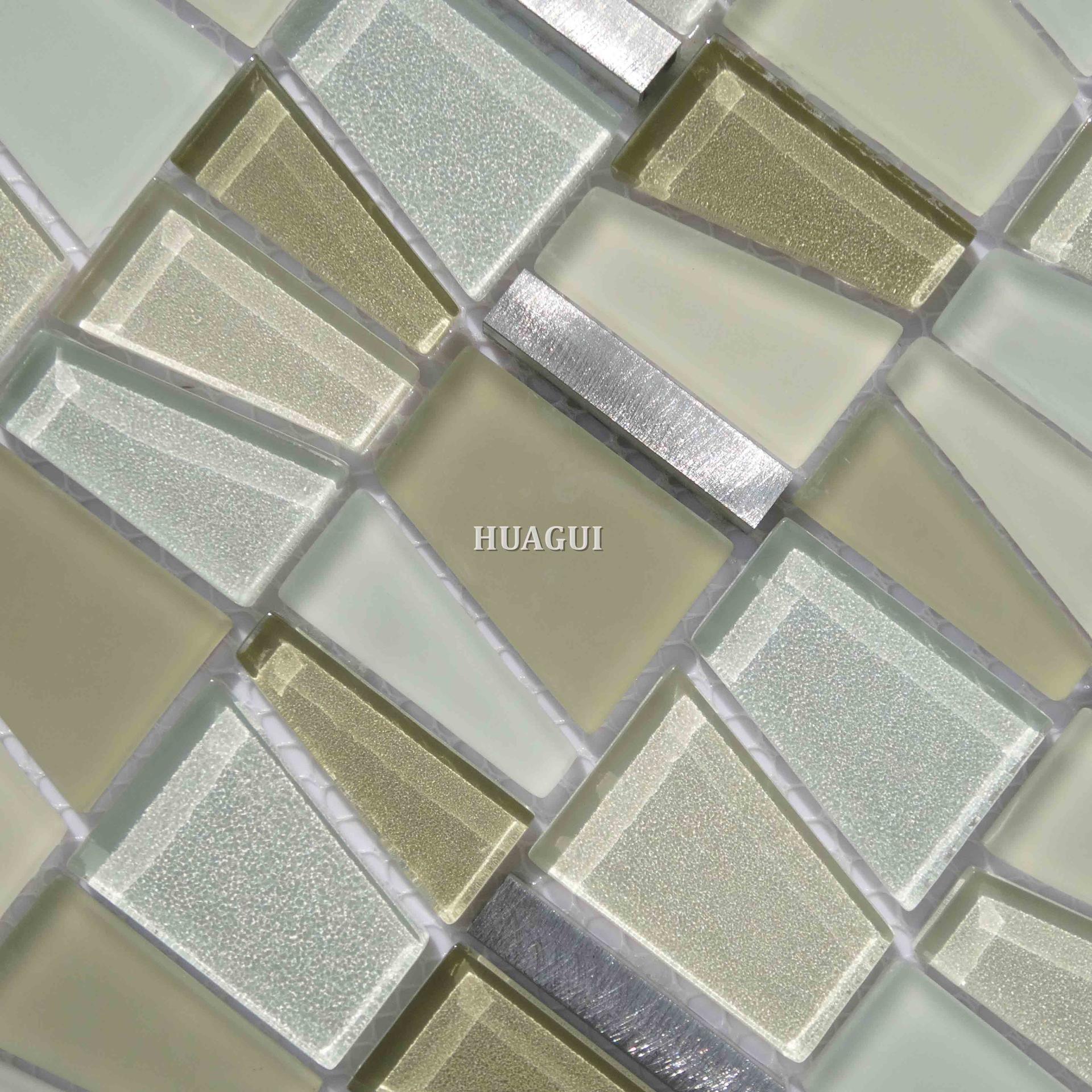 Shaped 3d smooth  glass mixed aluminum mosaic kitchen backsplash ideas