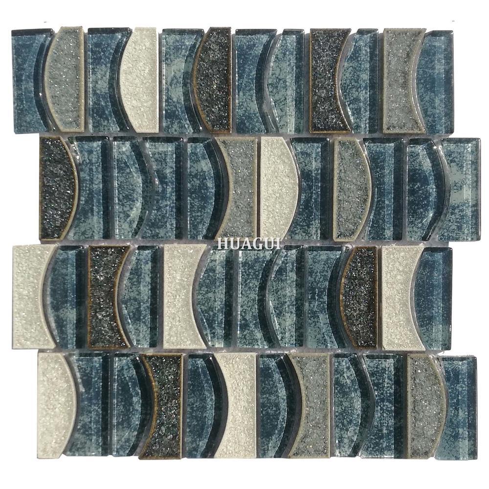 The latest blue ocean moon design glass mixed ceramic mosaic tile