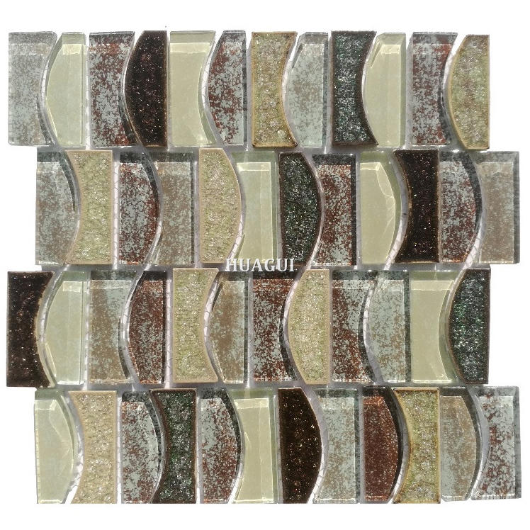 Comfortable moon design pattern fabric glass mixed ceramic mosaic tile