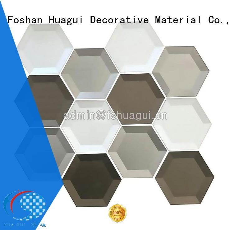 black glass tile backsplash decoration for outdoor Huagui