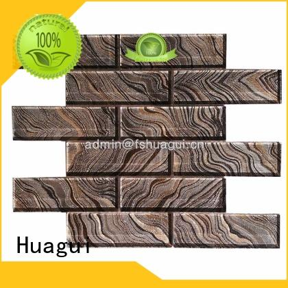 Huagui elegance light gray glass subway tile graffiti for outdoor