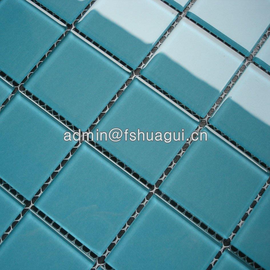 China glass single color mosaic pool tiles HG-448001-2