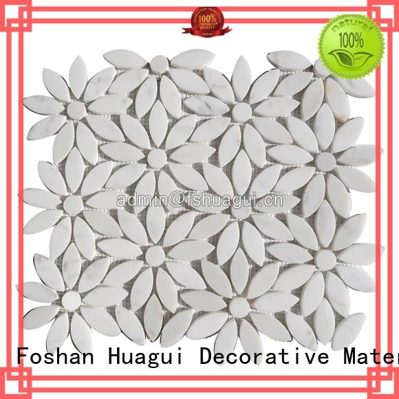 Huagui asperities white marble mosaic tile suppliers for indoor