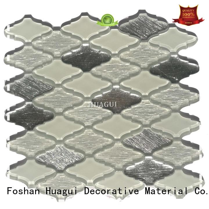 Huagui red glass and stone mosaic tile company for indoor