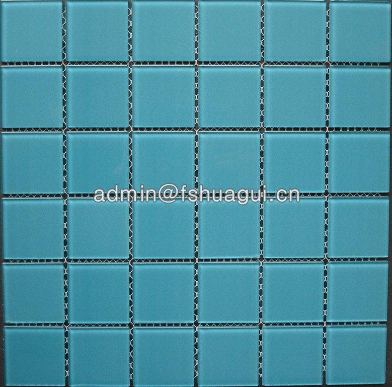 China glass single color mosaic pool tiles HG-448001-3