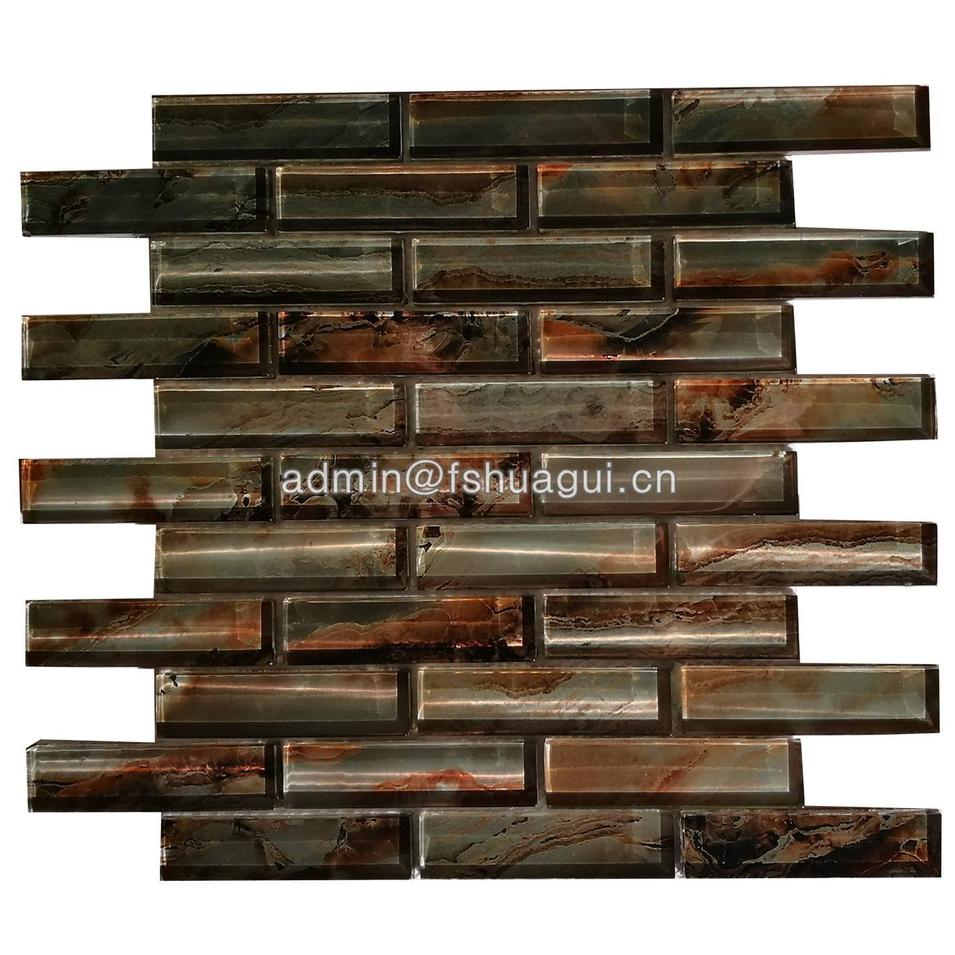 New Design Crystal Brown Color Glass Mosaic tile Wall Decorative HG-CDT679
