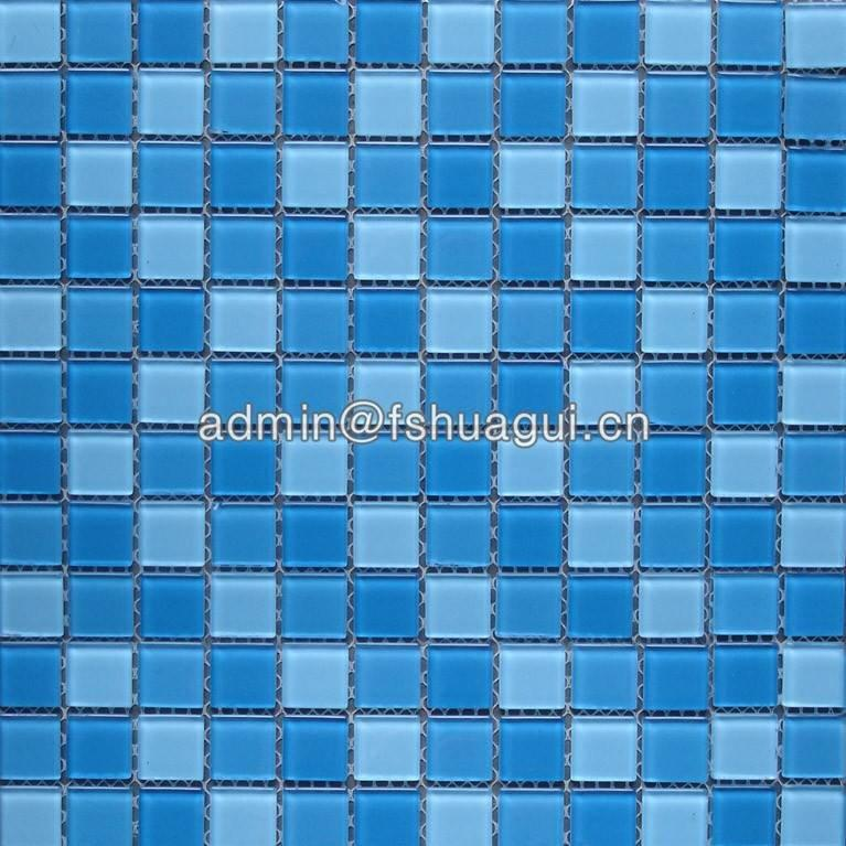 Mixed blue colors crystal glass  mosaic tile for bathroom pool tiles HG-423013