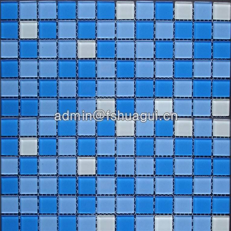Swimming pool tile adhesive crystal glass mosaic tiles HG-423028