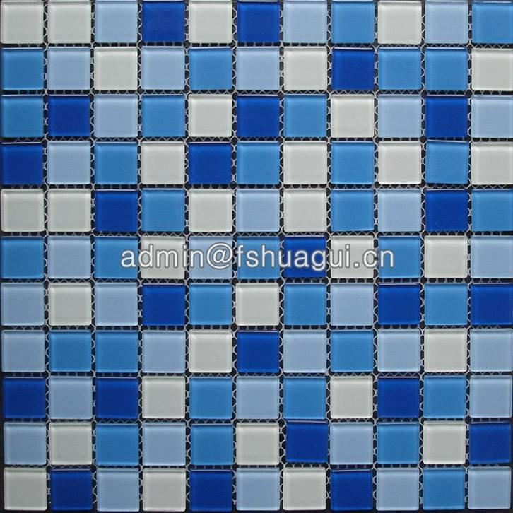 Mix blue and white colors crystal glass pool mosaic tile HG-425006
