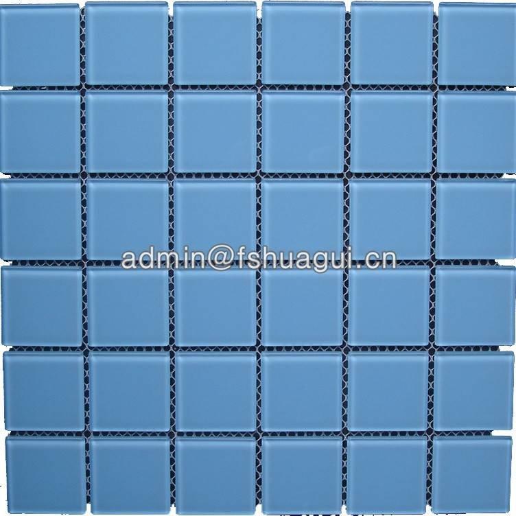 Light blue crystal glass mosaics for fiberglass pool bathroom HG-448003