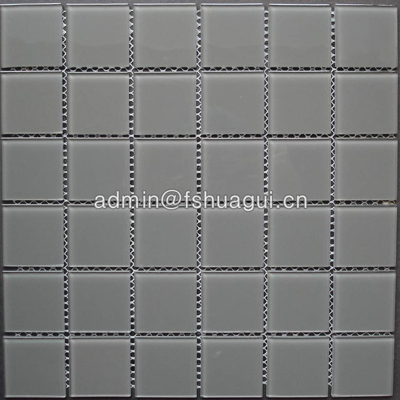 Huagui Kitchen Bathroom Backsplash Wall Tile Gray Crystal Glass Pool Mosaic Tile POOL MOSAIC TILE image2