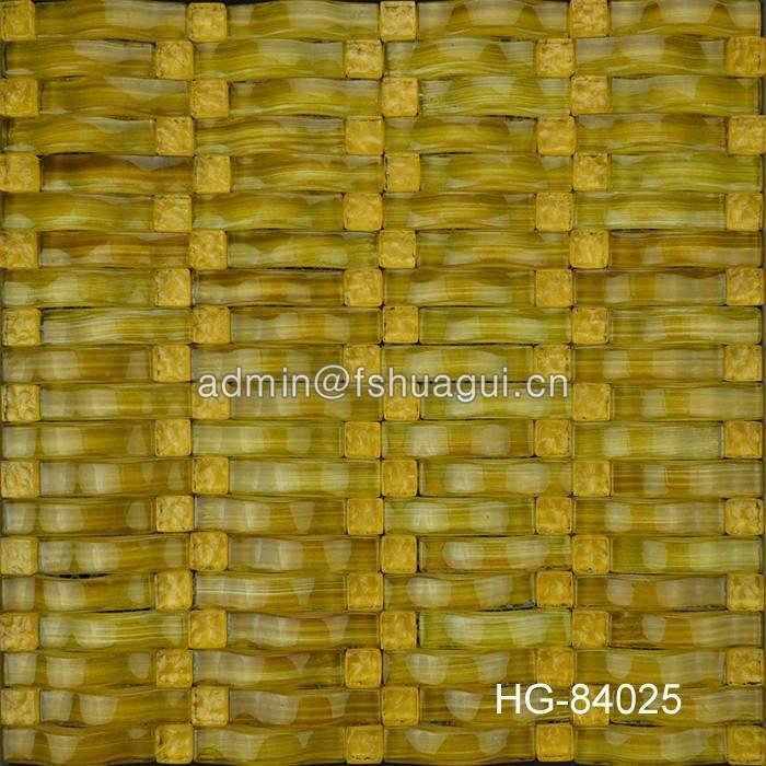 Elegant yellow arched shape crystal glass mosaic design idea