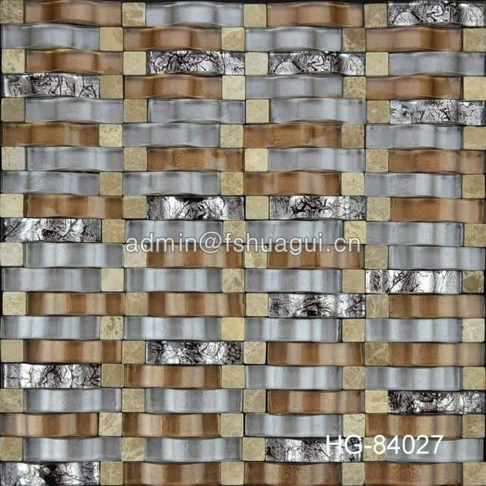 Wave design glass stone mosaic tile for interior wall