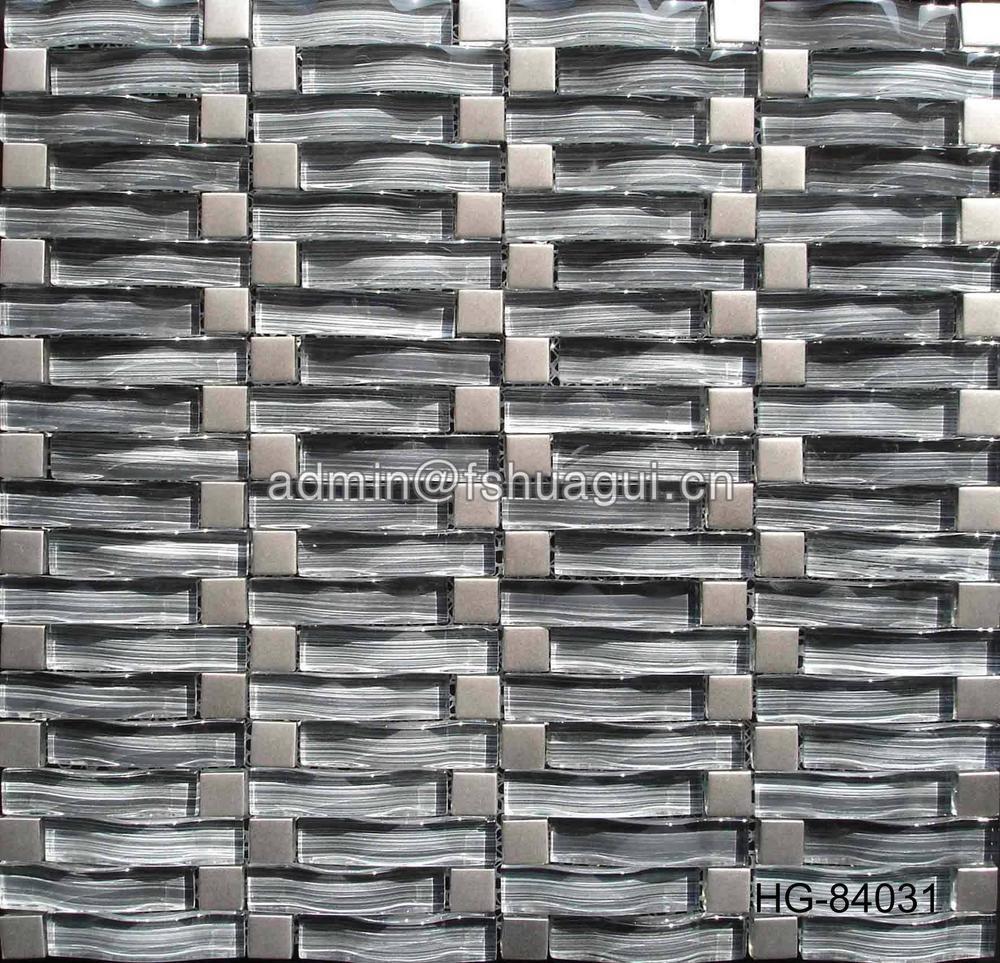 Foshan manufacturer arched shape grey color glass mix metal mosaic tile
