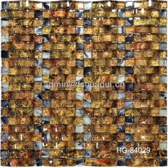 Unique leopard design gold foil crystal glass mosaic idea backsplash tile