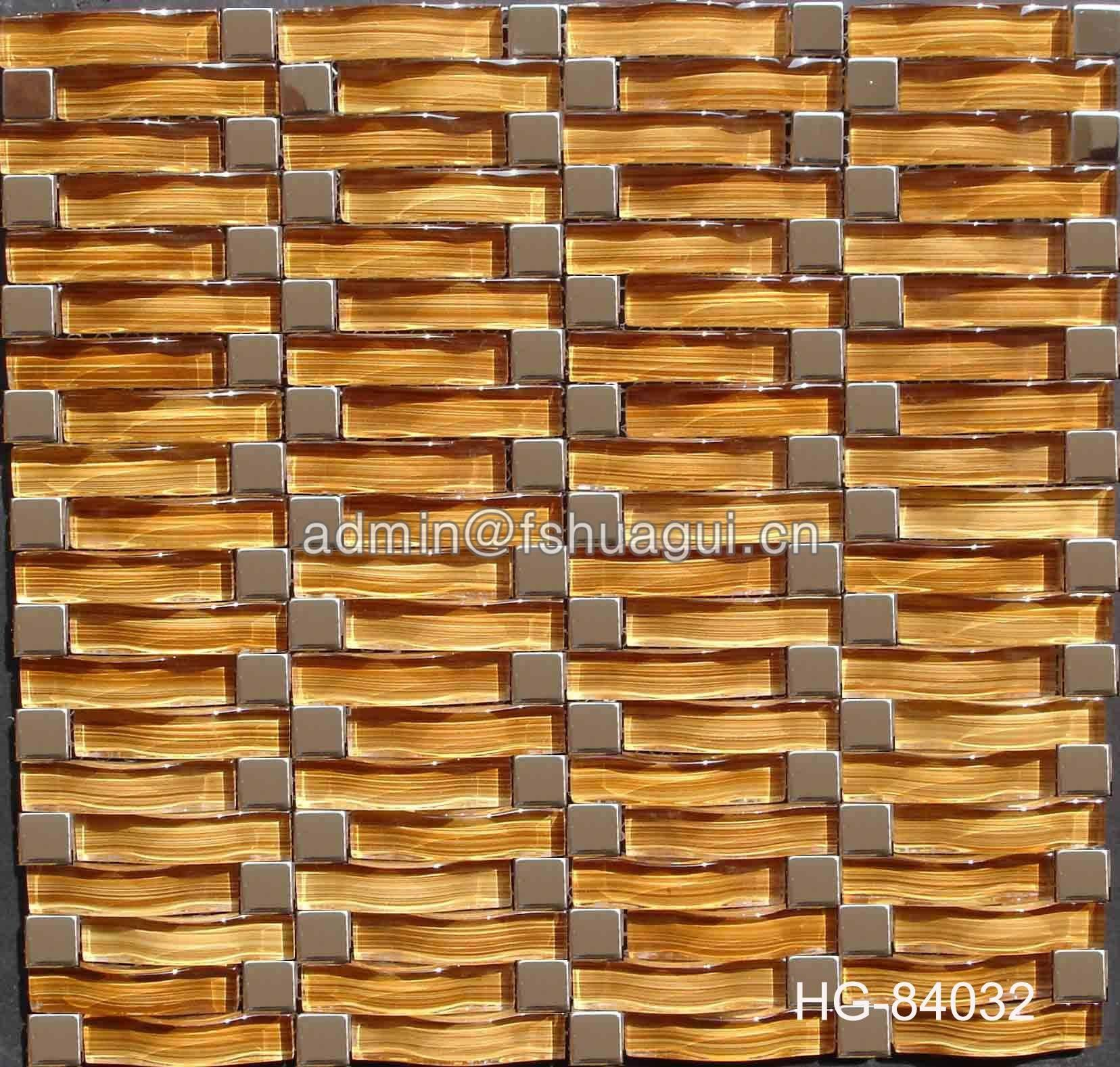 Luxury Interior Stainless Steel Mixed Glass Mosaic Backsplash Tile