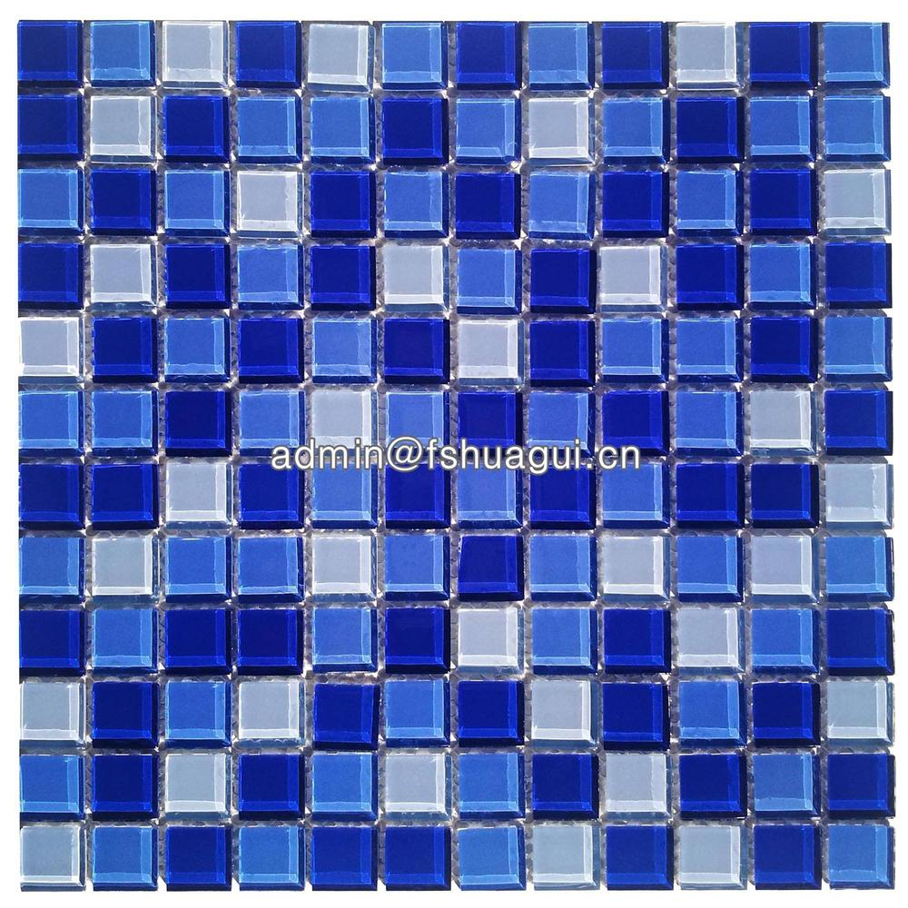 Wholesale blue crystal glass mosaic swimming pool and bathroom tile