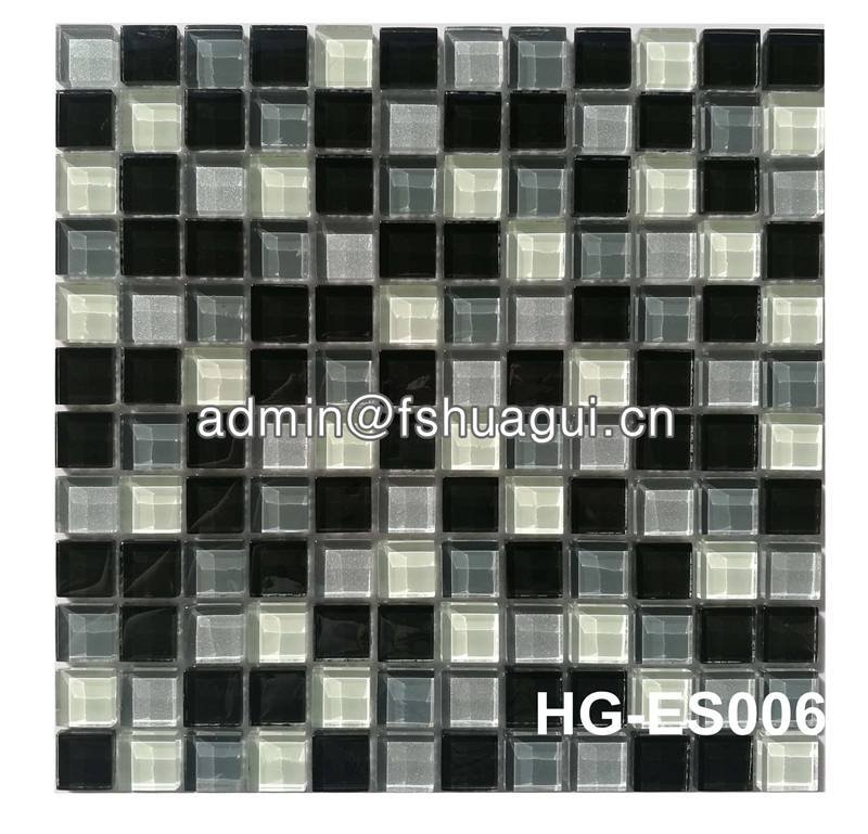 Huagui Grey Color Mixed For Wall Crystal Glass Mosaic Tile HG-ES006 GLASS MOSAIC TILE image35