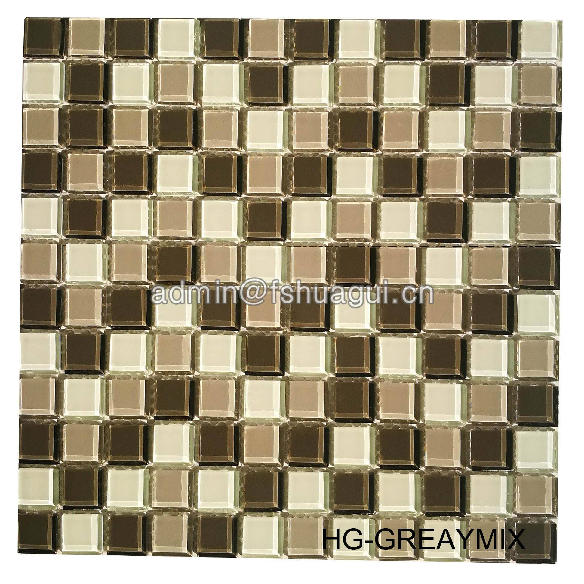 Huagui Interior Decorative Room  Crystal Glass Mosaic Tile HG-GREYMIX GLASS MOSAIC TILE image34