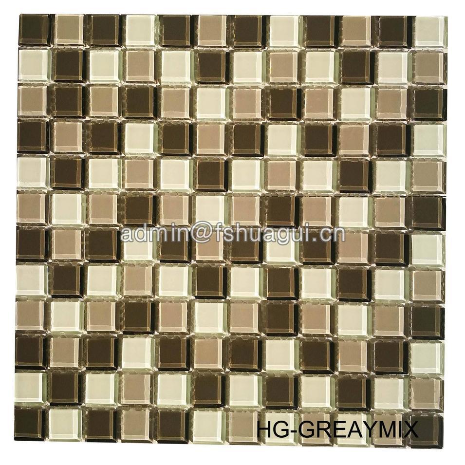 Interior decoration room grey crystal glass mosaic tile