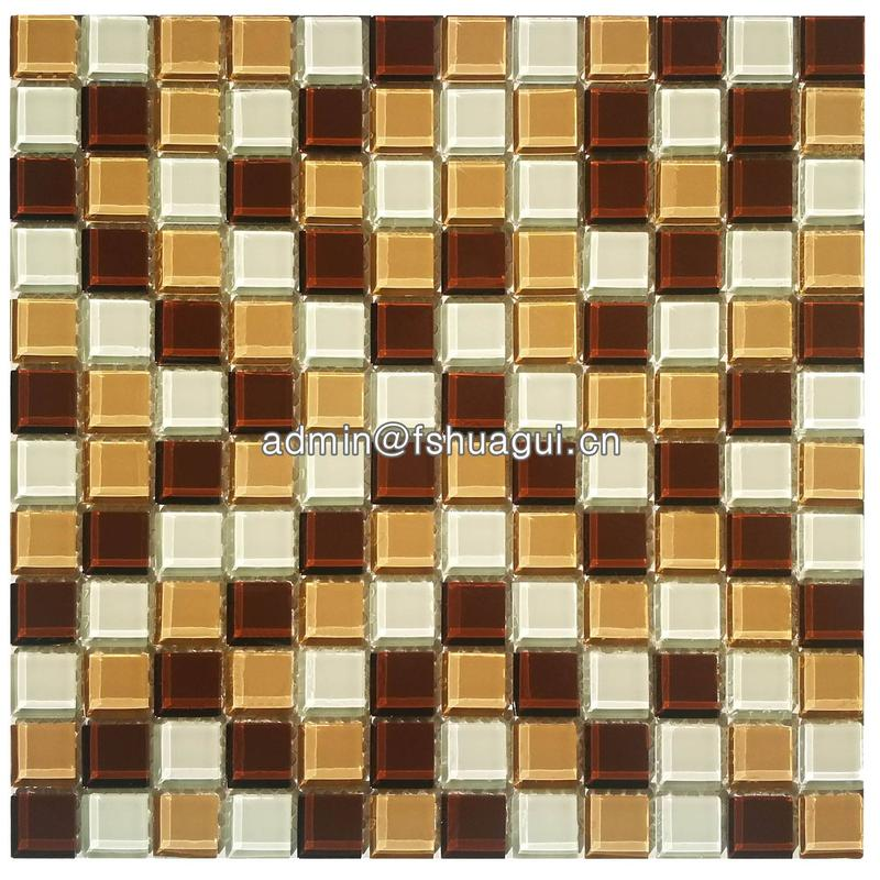Brown color mixed crystal glass mosaic tile for bathroom wall