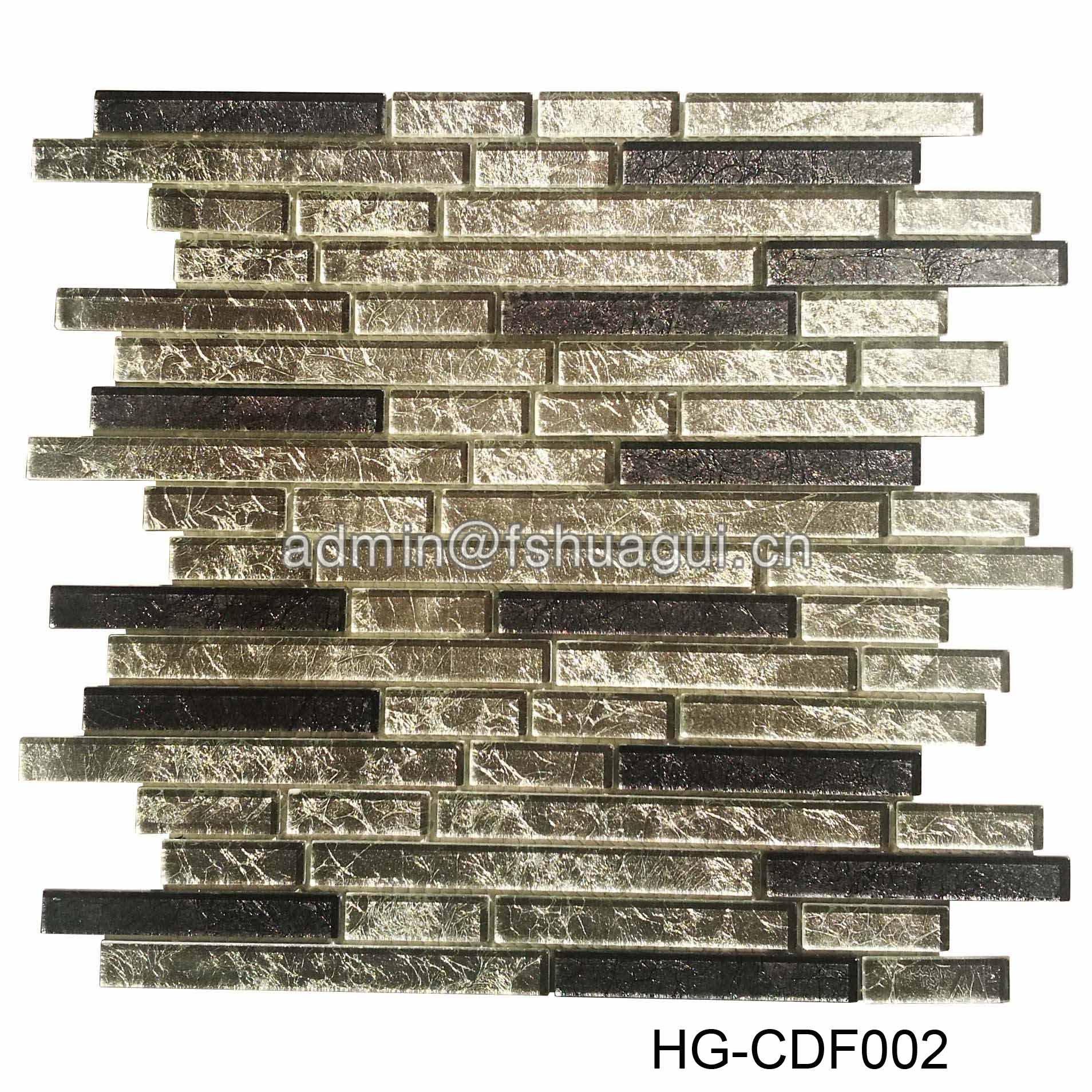 Unique gold foil strip kitchen backsplash glass mosaic wall tile