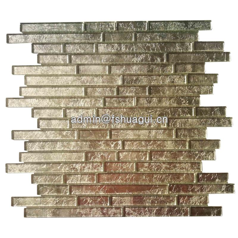 Luxury light gold color glitter crystal glass mosaic tile for wall